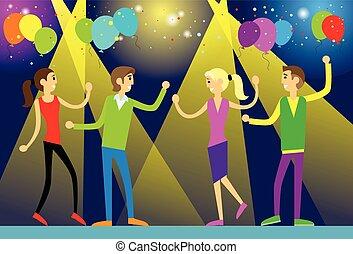 appartamento, persone, randello ballo, disegno, notte, festa