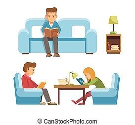 appartamento, persone, studenti, libreria, biblioteca, libri, vettore, disegno, lettura, bambini