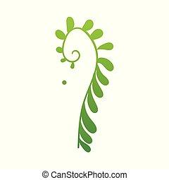 appartamento, pianta, astratto, felce, vettore, verde, icona