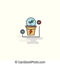 appartamento, pianta, vettore, icon., potere