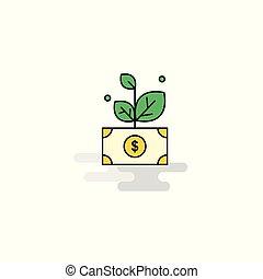 appartamento, pianta, vettore, icon., soldi