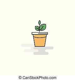 appartamento, pianta, vettore, vaso, icon.