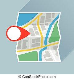 appartamento, piegatura, marchio, posizione, carta, mappa, icona