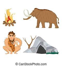 appartamento, pietra, neanderthal, icone, famiglia, età, vettore, o, uomo