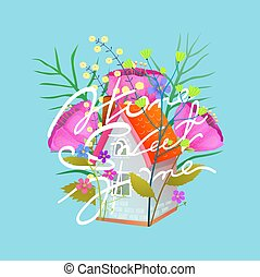 appartamento, poco, dolce, illustrazione, vettore, cottage, casa, fiori