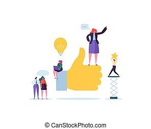 appartamento, pollice, persone lavorare, grande, concept., lavoro, su, illustrazione, mano, affari, characters., vettore, squadra, successo