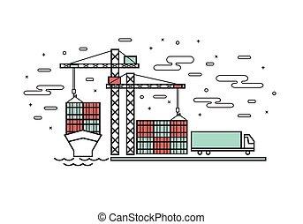 appartamento, porto, industriale, estremità contenitore, nave, disegno, magro, camion, linea, trasporto