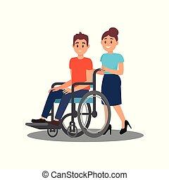 appartamento, porzione, carrozzella, worker., giovane, allegro, disabilities., vettore, disegno, sociale, ragazza, volontario, tipo, fisico, uomo
