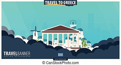 appartamento, poster., illustration., viaggiare, vettore, greece., turismo