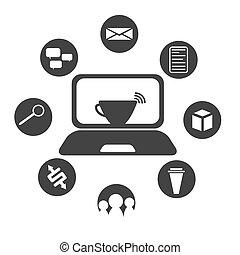 appartamento, progetto serie, caffè internet, icona