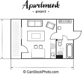 appartamento, progetto, vista superiore