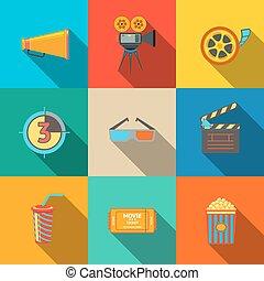 appartamento, proiettore, set, cinema, cinema, film, moderno, -, drink., assicella, vetro, vasca, occhiali, icone, strisce, 3d, striscia, popcorn, film, biglietto