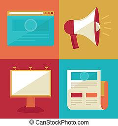 appartamento, promozione, vettore, pubblicità, icone