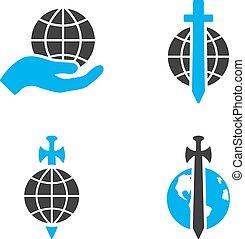 appartamento, protezione, bicolore, icone, vettore, terra