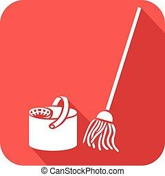appartamento, pulire pavimento secchio, pulizia, icona