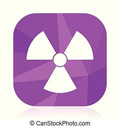 appartamento, quadrato, radioattivo, internet web, nucleare, segno., moderno, radiazione, button., eps, vettore, disegno, atomo, 10., icon., viola, simbolo
