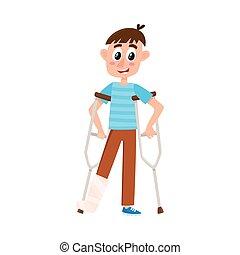 appartamento, ragazzo, gamba, crutches, rotto, vettore