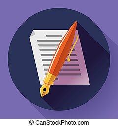 appartamento, redigere, simbolo, segno, disegnato, vector., documento, style., icona
