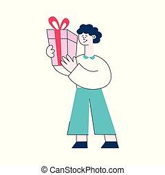 appartamento, regalo, ragazzo, scatole, vettore, presente, capretto