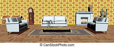 appartamento, render, moderno, -, interno, 3d