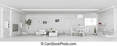 appartamento, render, moderno, interno, bianco, 3d