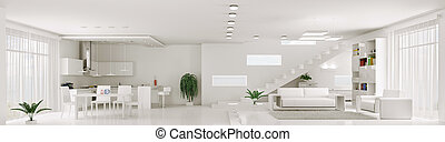 appartamento, render, panorama, interno, bianco, 3d