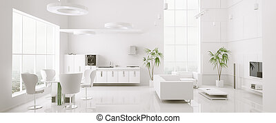appartamento, render, panorama, moderno, interno, 3d