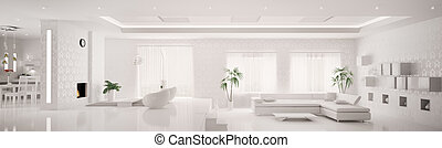 appartamento, render, panorama, moderno, interno, bianco, 3d