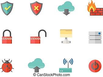 appartamento, rete, icone, colorare, -, computer