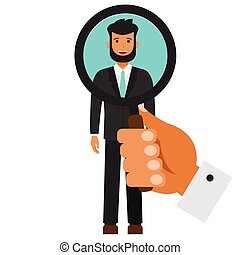 appartamento, ricerca, concetto, umano, candidato, isolato, illustrazione, vettore, fondo, bianco, cartone animato, risorse