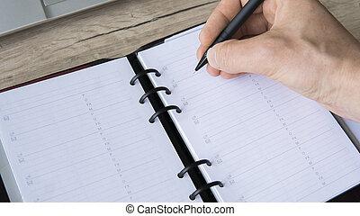 appartamento, ricerca, suo, lay., cima, inspiration., scrivere, andare, qualcosa, notebook., vista, vuoto, uomo