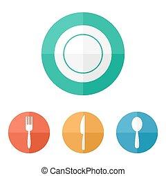 appartamento, ristorante, icons., menu