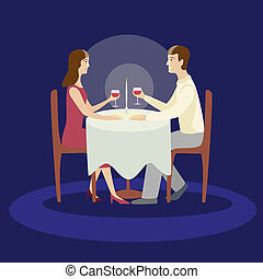 appartamento, romantico, famiglia, valentines, isolato, illustrazione, cena.