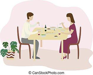 appartamento, romantico, famiglia, valentines, isolato, illustrazione, vettore, cena.
