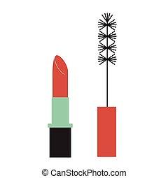 appartamento, rossetto, illustrazione, mascara