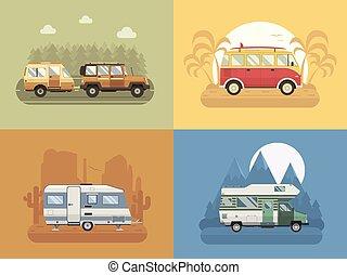 appartamento, rv, concetto, viaggiare, disegno, paesaggi