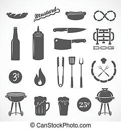 appartamento, salsiccia, elementi, griglia, icone, birra, fuoco, isolato, vettore, disegno, tale, coltello, ecc.