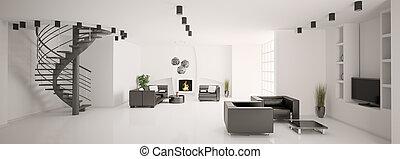 appartamento, scala, panorama, interno, caminetto, 3d