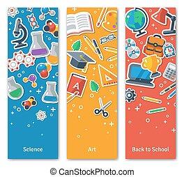 appartamento, scuola, bannersset, verticale, adesivo, indietro, icons.