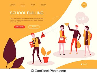appartamento, scuola, colorito, web, -, stile, bullying, disegno, bandiera
