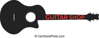 appartamento, scuola, illustration., chitarra, lezioni, vettore, music., logo.