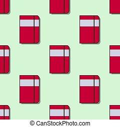 appartamento, scuola, modello, quaderni, seamless, illustrazione, vettore, rosso