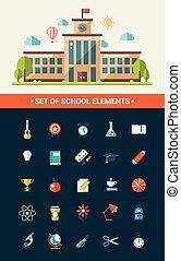 appartamento, scuola, progetto serie, icone