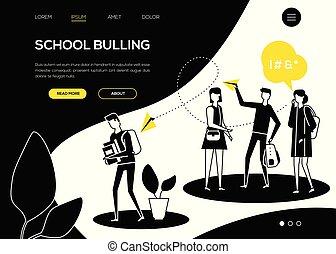 appartamento, scuola, web, -, stile, bullying, disegno, bandiera