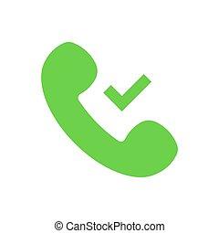 appartamento, segno spunta, segno., simbolo., isolato, vettore, verde, telefono, zecca, microtelefono, icona