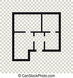 appartamento, semplice, casa, isolato, illustrazione, fondo., vettore, piano, icon.