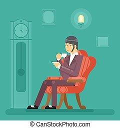 appartamento, sera, tè, bevanda, illustrazione, signori miei, vettore, disegno, tempo