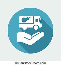 appartamento, servizio, cibo, -, consegna, vettore, icona