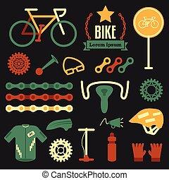 appartamento, set, accessori, bicicletta, bicycle., vettore