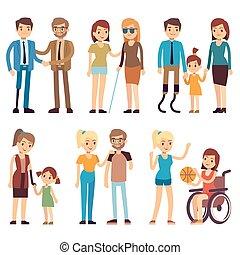 appartamento, set, activities., persone, invalido, vettore, caratteri, sociale, sport, felice